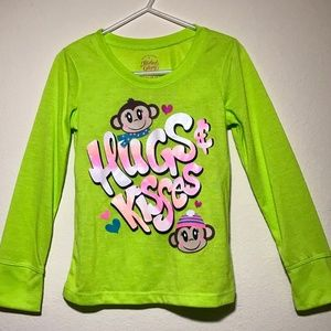 91659361 Faded Glory Pajamas | Girls Ls Night Shirt Hugs And Kisses Wmonkeys ...